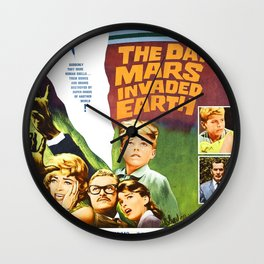 The Day Mars invaded Earth, vintage sci-fi movie poster Wall Clock