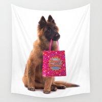 birthday Wall Tapestries featuring Birthday dog by AvHeertum