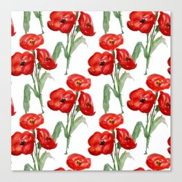 Watercolor Red Poppies Canvas Print