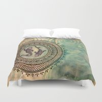 pisces Duvet Covers featuring Pisces by Jen Hallbrown