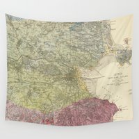dublin Wall Tapestries featuring Vintage Map of Dublin Ireland (1883) by BravuraMedia