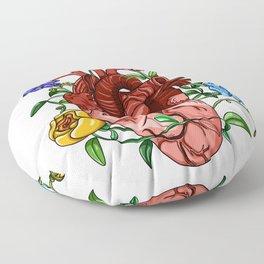 An Overgrown Floral Heart Floor Pillow