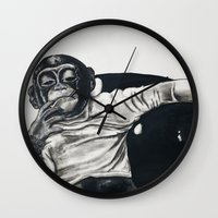 gangster Wall Clocks featuring Original Gangster by Esau Rodriguez Art
