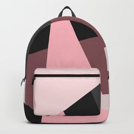 Modern Girly Pink Black Geometric Art Backpack