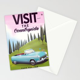 "Visit the Countryside ""Take the Car"" Cartoon travel poster. Stationery Cards"