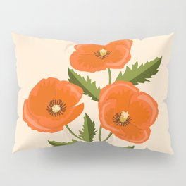 three red poppies Pillow Sham