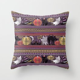 Embroidery Halloween // black cats orange and green pumpkins white ghosts and stitches on purple Throw Pillow