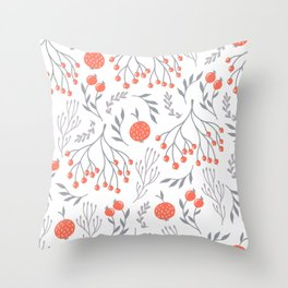 Red Berry Floral Throw Pillow