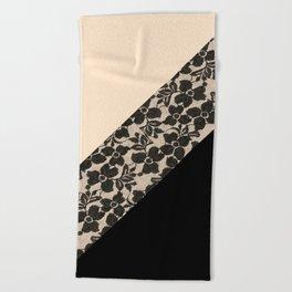 Elegant Peach Ivory Black Floral Lace Color Block Beach Towel