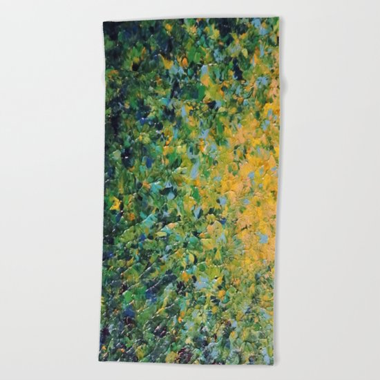 IRISH SUNRISE - Beautiful BOLD Lime Kelly Forest Green Sunrise Sunset Abstract Nature Painting Beach Towel