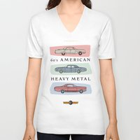 60s V-neck T-shirts featuring Motor Style Inc.: 60s American Heavy Metal by rylee