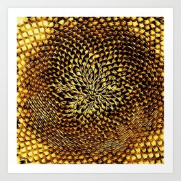 Gold Chrome Sunflower Portrait by Jeanpaul Ferro Art Print