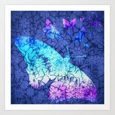 Flower & Butterflies Art Print