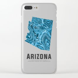 Arizona - State Map Art - Abstract Map - Blue Clear iPhone Case