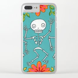 Dancing Skellys and Flowers Clear iPhone Case