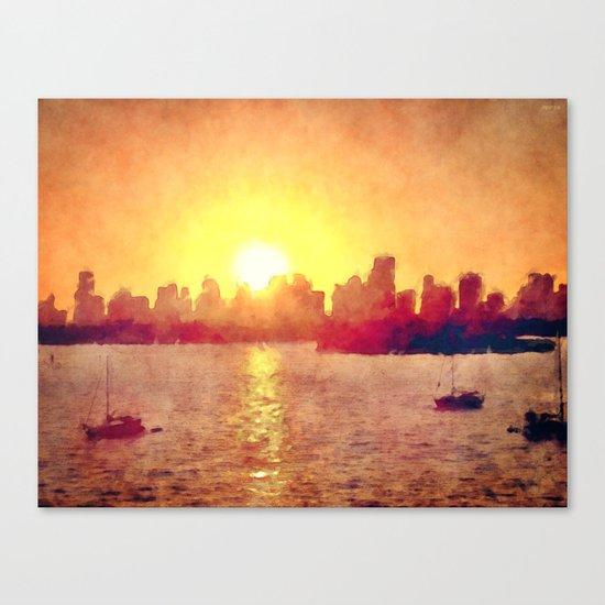 Sunset Over Miami Florida Canvas Print