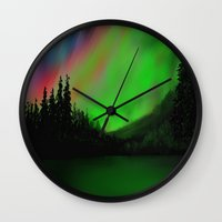 northern lights Wall Clocks featuring Northern Lights by Turul