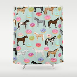 Horses Donuts - horse, donut, pastel, food, horse blanket, horse bedding, dorm, cute design Shower Curtain