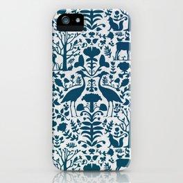Folk Art Pattern Blue Teal on Gray iPhone Case