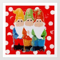 gnome Art Prints featuring Gnome by BLOOP