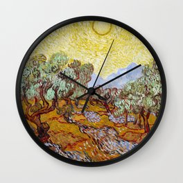 Olive Trees with Yellow Sky and Sun by Vincent van Gogh Wall Clock