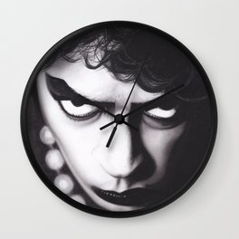 Realism Charcoal Drawing of Tim Curry as Frank N Furter in Rocky Horror Picture Show Wall Clock