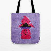 conan Tote Bags featuring A Boy - Orko by Christophe Chiozzi