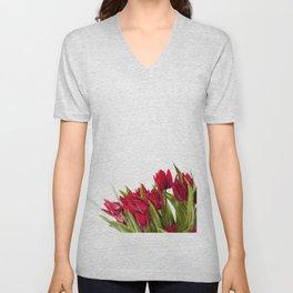 Red tulips bouquet sprinkled Unisex V-Neck