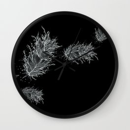 Flying Feathers Black and White Wall Clock