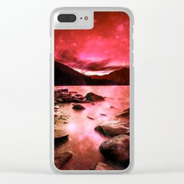 Magical Mountain Lake Red Clear iPhone Case