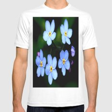 Tiny Blue Flowers White Mens Fitted Tee MEDIUM