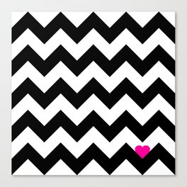 Heart & Chevron - Black/Pink Canvas Print