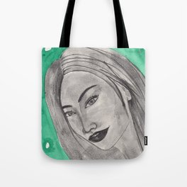 girl infront of a gre bacground Tote Bag