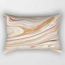 Wet Swirled Paint in Tans Rectangular Pillow