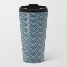 Blue Indigo Denim Waves Metal Travel Mug