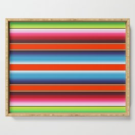 Red Green Blue Mexican Serape Blanket Stripes Serving Tray