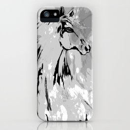 HORSE BLACK AND WHITE iPhone Case