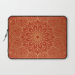 Gold Mandala Pattern On Red Laptop Sleeve