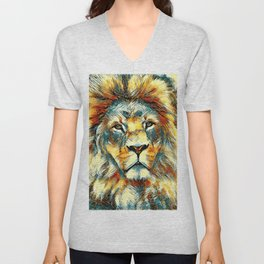 AnimalArt_Lion_20171004_by_JAMColorsSpecial Unisex V-Neck