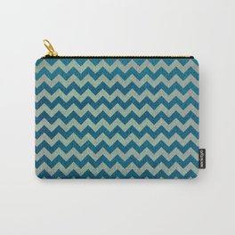 Blue and Green Chevron Pattern Carry-All Pouch