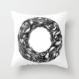 The Illustrated O  Throw Pillow