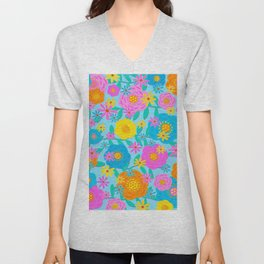 Pretty Floral Design Unisex V-Neck
