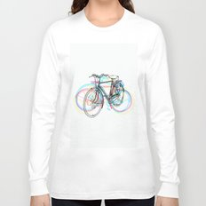 Artistic modern pink teal abstract bicycles art Long Sleeve T-shirt