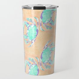 Crab orange blue nautical Travel Mug