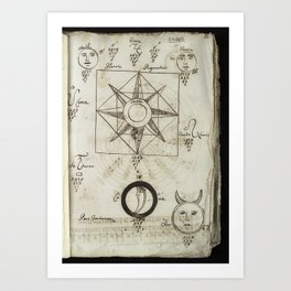 Astronomical figures with numerical calculations, after Johannes Reuchlin Art Print