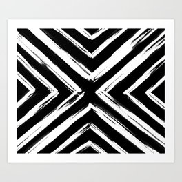 Minimalistic Black and White Paint Brush Triangle Diamond Pattern Art Print
