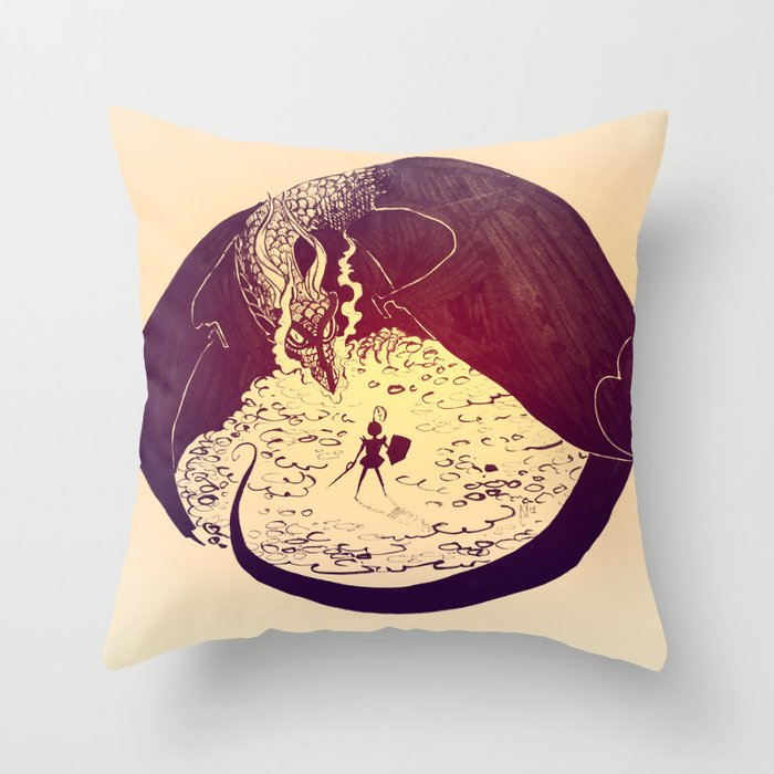 Defensive Dragon Throw Pillow