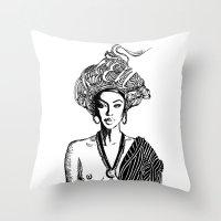 goddess Throw Pillows featuring Goddess by Fen_A