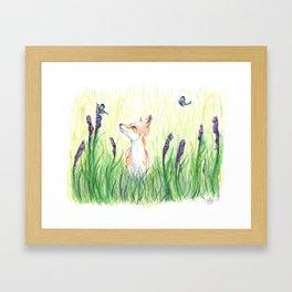 Fox with Butterflies Framed Art Print