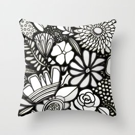 Flowers On The Wall Black & White Edition Throw Pillow